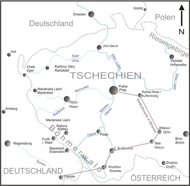 Karte Tschechien.Karte Weltkulturere Tschechien