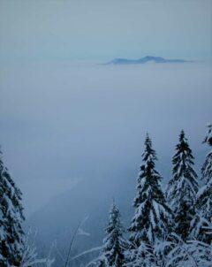 die Ossergipfel über den Nebel-Wolken oberhalb der Seewand des Kleinen Arbersees (scheint als weiße Schneefläche links unten durch)