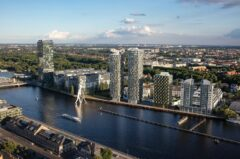 Planungsfoto der Firma Agromex: 3 weitere Hochhäuser beim Treptower (Fertigstellung 2021?)
