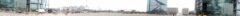 """Rundblick vom Hauptbahnhof """"Hintereingang"""" Washingtonplatz Richtung dem Regierungsviertel (mittig erkennbar die kleine Kuppel ist das Reichstagsgebäude)"""