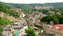 Karlsbad. Blick vom Hotel Thermal auf das Kurzentrum