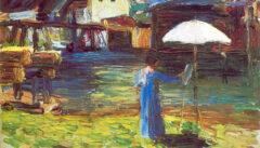 Gabriele Münter malend in Kallmünz, gemalt von Wassily Kandinsky