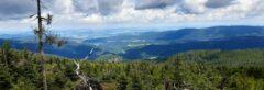 Blick vom Osser nach Böhmen: auf die nördlichen Ausläufer der Šumava und die Grenz-Senke zwischen Furth im Wald und Domažlice (deutsch: Taus)