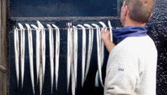 Frischer Seefisch und geräucherte Spezialitäten in den Fischbuden von Miesdroj.