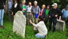 Unsere Judaistin Tanja erläutert die Inschriften auf den Grbasteinen in Safov