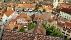 Blick von der Stadtkirche auf das Zentrum von Hermannstadt